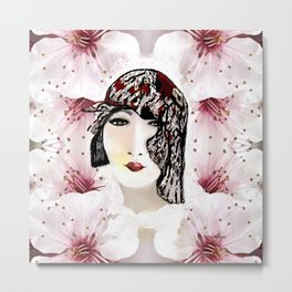 Floral 40's Queen on White,Burgundy and Black Metal Print