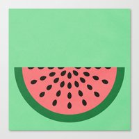 watermelon Canvas Prints featuring Watermelon by Karolis Butenas