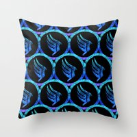 mass effect Throw Pillows featuring Mass Effect Paragon by foreverwars