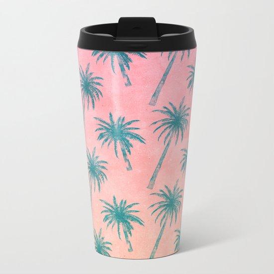 Palm Tree Pattern Metal Travel Mug