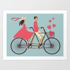 Love Couple riding on the bike Art Print