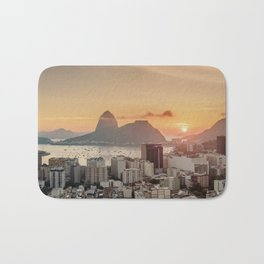 View over Botafogo towards the Sugarloaf Mountain at sunrise, Rio de Janeiro, Brazil Bath Mat