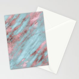 Rose Gold Veins on Faux Aqua Marble Stationery Cards