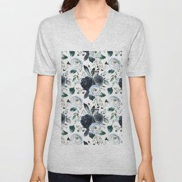 Watercolor navy blue elegant white bohemian floral Unisex V-Neck