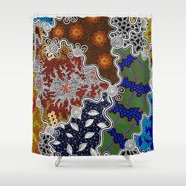 Authentic Aboriginal Art - The Seasons Shower Curtain