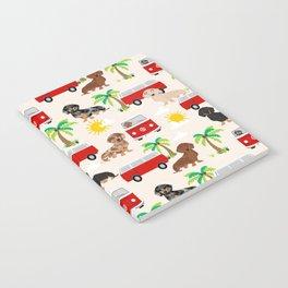 Dachshund Beach day palm tree summer dog cute dog pillow dog blanket beach towel Notebook
