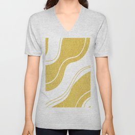 Uplifting golden wavy lines on white background Unisex V-Neck