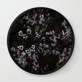Dark Purple Leaves and White Cherry Blossoms on Black Wall Clock