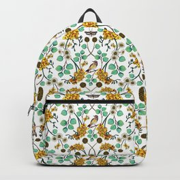 Warblers & Moths - Yellow & Teal Spring Floral/Bird Pattern Backpack