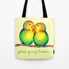 Love Birds on a Branch Tote Bag