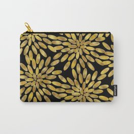 Golden Petals on Black Carry-All Pouch