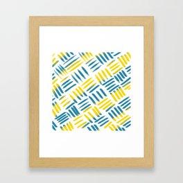 Blue Yellow Stitch Framed Art Print