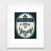 forever young Framed Art Prints featuring Forever Young by Landon Sheely