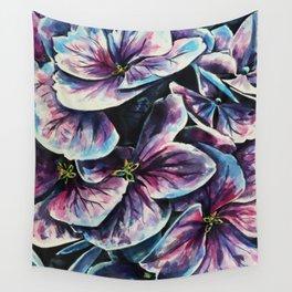purple flowers watercolor art Wall Tapestry