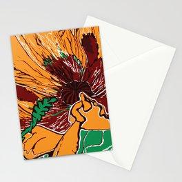 Flower Pop Art Orange Burgundy and Green Nature Still Life Block Flat Colour Graphic Art Stationery Cards