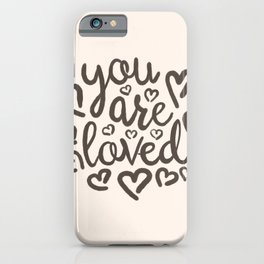 You Are Loved, Hand-written Typography Artwork With Doodle Hearts iPhone Case