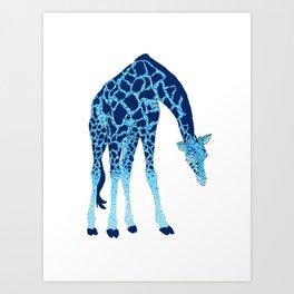 'Feelin' Blue' Pointillism Blue Giraffe Illustration Art Print