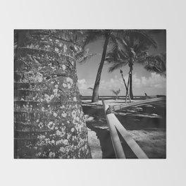 Kuau Beach Palm Trees and Hawaiian Outrigger Canoe Paia Maui Hawaii Throw Blanket