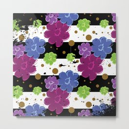 Pop Flowers with Ink Paint Splatter on Cabana Stripe Print Metal Print