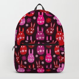 Easter Egg Bunny Pattern - Red Crimson Claret & Pink Backpack