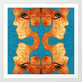 Copper Acrylic on Wood Faces of Time Print Art Print