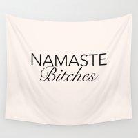 namaste Wall Tapestries featuring Namaste! by kooksoul