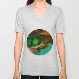Melting Crystals, Green, Yellow, Brown an Aqua Unisex V-Neck