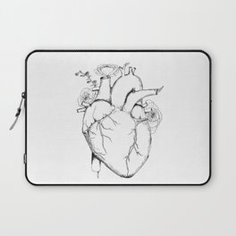 Black and White Anatomical Heart Laptop Sleeve