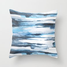Blue Ice Watercolor 2 Throw Pillow