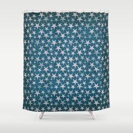 White stars on grunge textured blue background Shower Curtain
