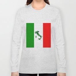 Map of Italy and Italian Flag Long Sleeve T-shirt