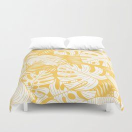 TROPICAL LEAVES ON YELLOW Duvet Cover