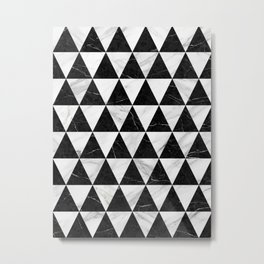 Marble Triangle Pattern - Black and White Metal Print