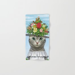 A cat wearing a flower hat Hand & Bath Towel