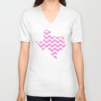 texas V-neck T-shirts featuring TEXAS {PINK} by natalie sales