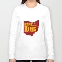 lebron Long Sleeve T-shirts featuring Home of the King (Yellow) by Denise Zavagno