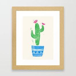Linocut Cactus #2 in a pot Framed Art Print