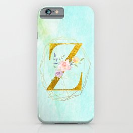 Gold Foil Alphabet Letter Z Initials Monogram Frame with a Gold Geometric Wreath iPhone Case