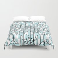 sharks Duvet Covers featuring SHARKS by Kingsley Ryan