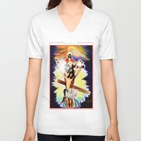christ V-neck T-shirts featuring THE CHRIST by KEVIN CURTIS BARR'S ART OF FAMOUS FACES
