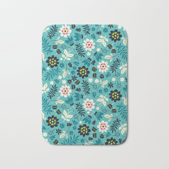 Fresh Blossoms (Greens) Bath Mat
