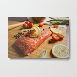 Salmon Steak Close Up Metal Print