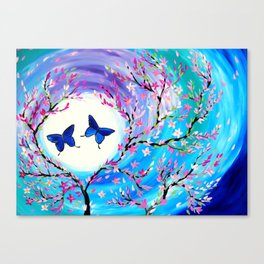 Butterflies with aqua, blue, green and purple Canvas Print