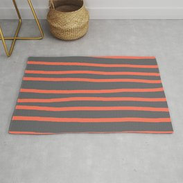 Simply Drawn Stripes Deep Coral on Storm Gray Rug