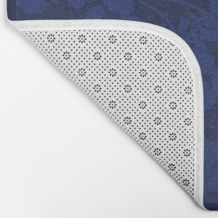 Blue on Blue - Broken but Flourishing Botanical Pattern Bath Mat
