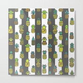 Pineapples Pattern Cute 665 Metal Print