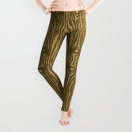 Golden Wood Grain Heart Leggings