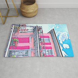 Watercolor Pink New Orleans French Quarter Nola Home Rug