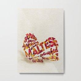 Maltese Dog Typography Art / Watercolor Painting Metal Print