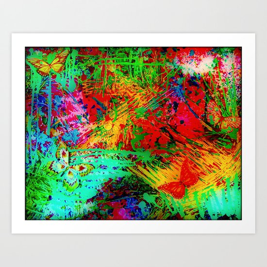 BUTTERFLY FEVER - Bold Rainbow Butterflies Fairy Garden Magical Bright Abstract Acrylic Painting Art Print